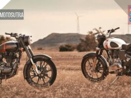two Royal Enfield Classic 350 on a ground